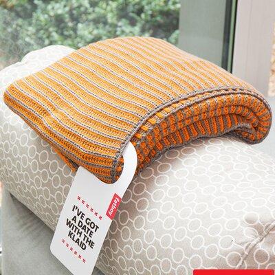 Klaid Cotton Throw Blanket Color: Taupe / Neon Orange