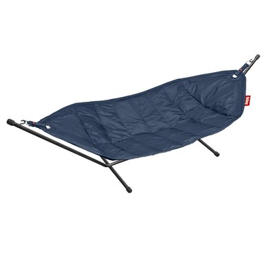 Headdemock Deluxe Polyester Hammock with Stand Color: Dark Blue