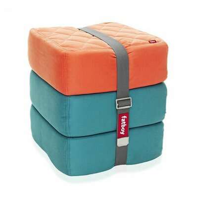 Baboesjka Ottoman Pillow Color: Orange / Aqua / Aqua