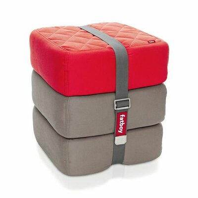 Baboesjka Ottoman Pillow Color: Red / Taupe / Taupe