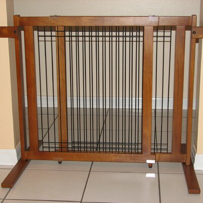 Elisa Tall Freestanding Wood & Wire Pet Gate Size: Small / Narrow Span