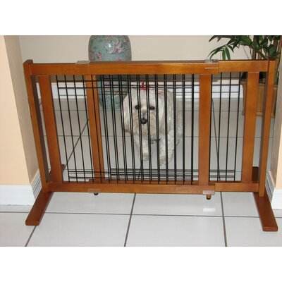 Freestanding Wood & Wire Pet Gate Size: Small (21 H x 50 W x 2 D)