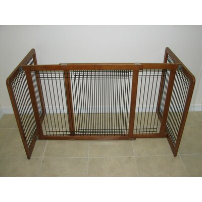 Freestanding Wood & Wire Pet Gate Size: Large (21 H x 75 W x 2 D)