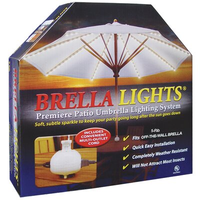 Brella Lights Patio Umbrella Lighting System With Power Pod with 5 Rib