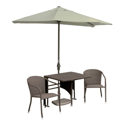 Terrace Mates Daniella All-Weather Wicker Color 5 Piece Dining Set Color: Coffee / Antique Beige Sunbrella