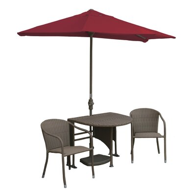 Terrace Mates Genevieve All-Weather Wicker Color 5 Piece Dining Set Color: Coffee / Red Sunbrella