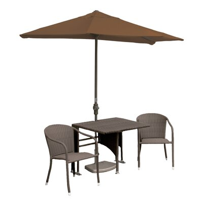 Terrace Mates Daniella All-Weather Wicker Color 5 Piece Dining Set Color: Coffee / Teak Sunbrella