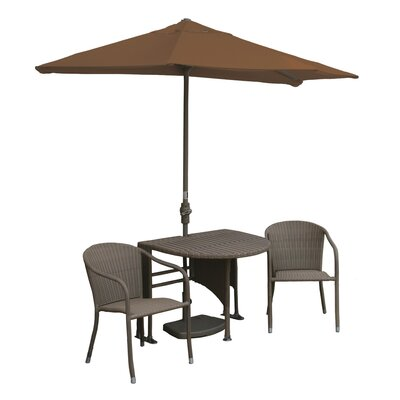Terrace Mates Genevieve All-Weather Wicker Color 5 Piece Dining Set Color: Coffee / Teak Sunbrella