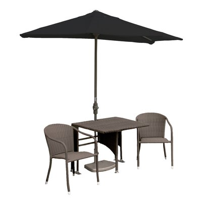 Terrace Mates Daniella All-Weather Wicker Color 5 Piece Dining Set Color: Coffee / Black Sunbrella