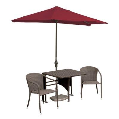 Terrace Mates Daniella All-Weather Wicker Color 5 Piece Dining Set Color: Coffee / Red Sunbrella