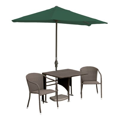 Terrace Mates Daniella All-Weather Wicker Color 5 Piece Dining Set Color: Coffee / Green Sunbrella