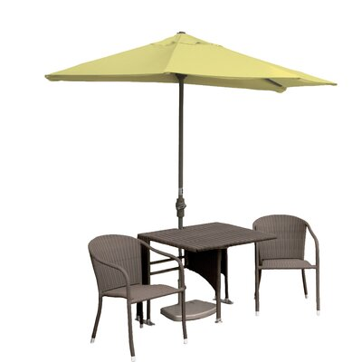 Terrace Mates Daniella All-Weather Wicker Color 5 Piece Dining Set Color: Coffee / Yellow Sunbrella