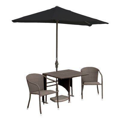 Terrace Mates Daniella All-Weather Wicker Color 5 Piece Dining Set Color: Coffee / Black Sunbrella