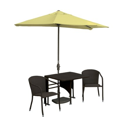 Terrace Mates Daniella All-Weather Wicker Color 5 Piece Dining Set Color: Java / Yellow Sunbrella
