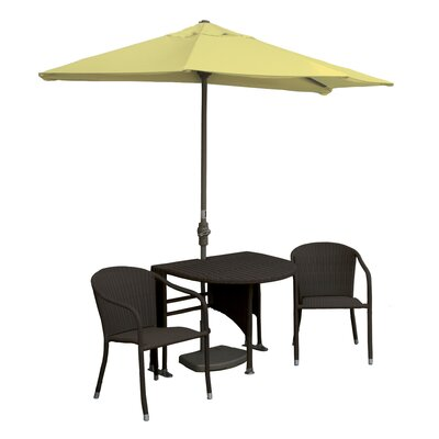 Terrace Mates Genevieve All-Weather Wicker Color 5 Piece Dining Set Color: Java / Yellow Sunbrella