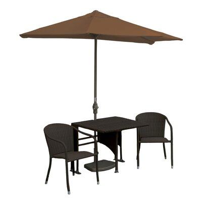 Terrace Mates Daniella All-Weather Wicker Color 5 Piece Dining Set Color: Java / Teak Sunbrella