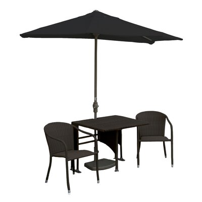 Terrace Mates Daniella All-Weather Wicker Color 5 Piece Dining Set Color: Java / Black Sunbrella