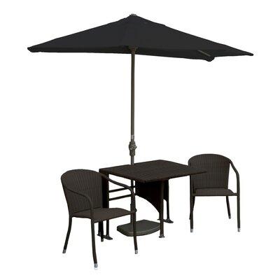 Terrace Mates Daniella All-Weather Wicker Color 5 Piece Dining Set Color: Java / Black Sunbrella