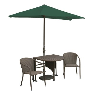 Terrace Mates Genevieve All-Weather Wicker Color 5 Piece Dining Set Color: Coffee / Green Olefin