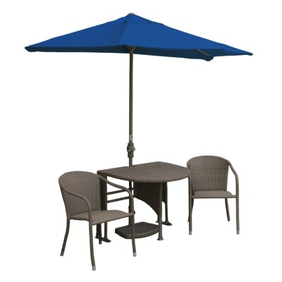 Terrace Mates Genevieve All-Weather Wicker Color 5 Piece Dining Set Color: Coffee / Blue Sunbrella
