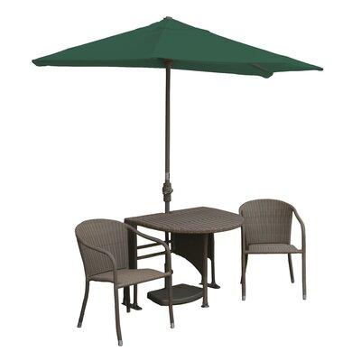 Terrace Mates Genevieve All-Weather Wicker Color 5 Piece Dining Set Color: Coffee / Green Sunbrella
