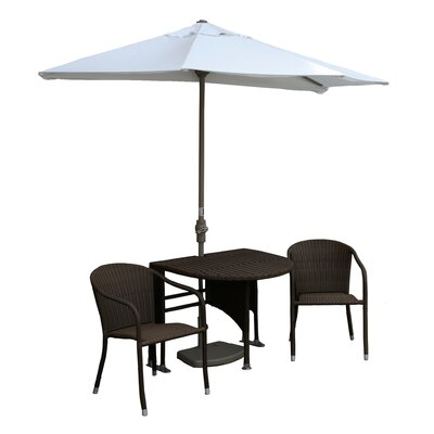 Terrace Mates Genevieve All-Weather Wicker Color 5 Piece Dining Set Color: Java / Natural Olefin