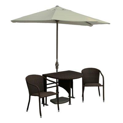 Terrace Mates Genevieve All-Weather Wicker Color 5 Piece Dining Set Color: Java / Antique Beige Sunbrella