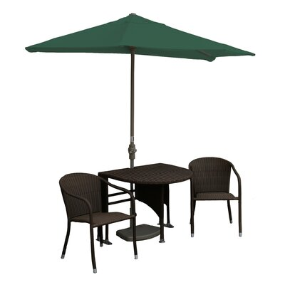 Terrace Mates Genevieve All-Weather Wicker Color 5 Piece Dining Set Color: Java / Green Sunbrella