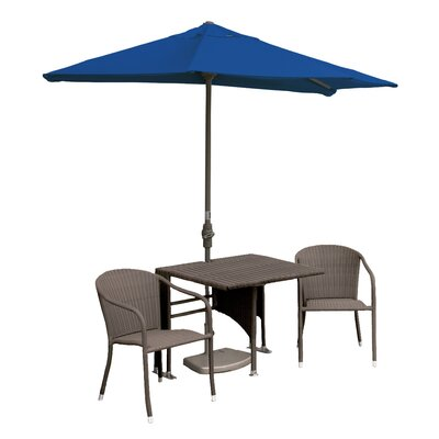Terrace Mates Daniella All-Weather Wicker Color 5 Piece Dining Set Color: Coffee / Blue Sunbrella