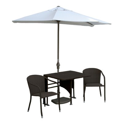 Terrace Mates Daniella All-Weather Wicker Color 5 Piece Dining Set Color: Java / Natural Sunbrella