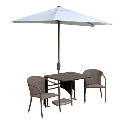 Terrace Mates Daniella All-Weather Wicker Color 5 Piece Dining Set Color: Coffee / Natural Sunbrella