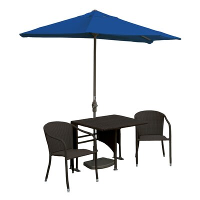 Terrace Mates Daniella All-Weather Wicker Color 5 Piece Dining Set Color: Java / Blue Sunbrella