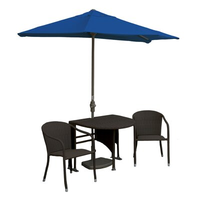 Terrace Mates Genevieve All-Weather Wicker Color 5 Piece Dining Set Color: Java / Blue Sunbrella