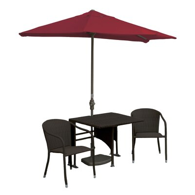 Terrace Mates Daniella All-Weather Wicker Color 5 Piece Dining Set Color: Java / Red Sunbrella