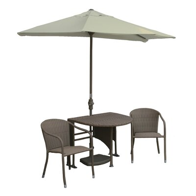 Terrace Mates Genevieve All-Weather Wicker Color 5 Piece Dining Set Color: Coffee / Antique Beige Sunbrella