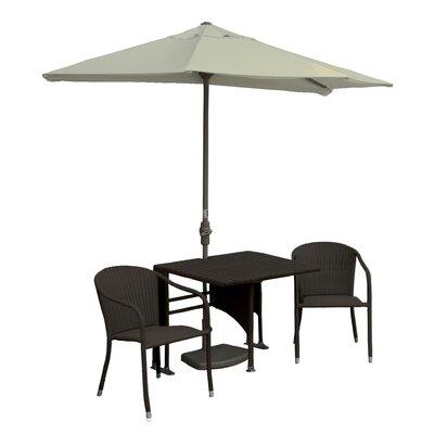 Terrace Mates Daniella All-Weather Wicker Color 5 Piece Dining Set Color: Java / Antique Beige Sunbrella