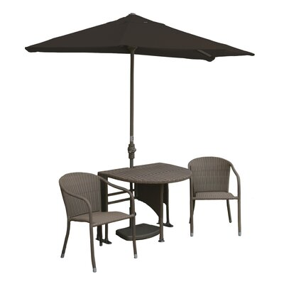 Terrace Mates Genevieve All-Weather Wicker Color 5 Piece Dining Set Color: Coffee / Chocolate Sunbrella