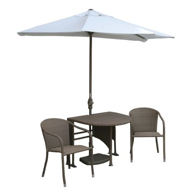 Terrace Mates Genevieve All-Weather Wicker Color 5 Piece Dining Set Color: Coffee / Natural SolarVista