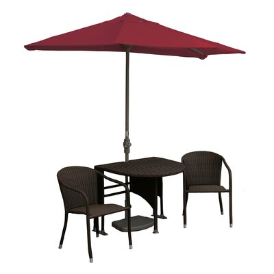 Terrace Mates Genevieve All-Weather Wicker Color 5 Piece Dining Set Color: Java / Red Sunbrella