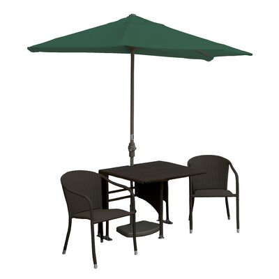 Terrace Mates Daniella All-Weather Wicker Color 5 Piece Dining Set Color: Java / Green SolarVista