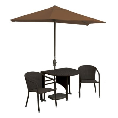 Terrace Mates Genevieve All-Weather Wicker Color 5 Piece Dining Set Color: Java / Teak Sunbrella
