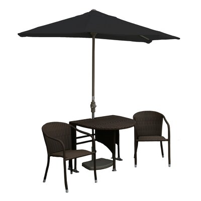 Terrace Mates Genevieve All-Weather Wicker Color 5 Piece Dining Set Color: Java / Black Sunbrella