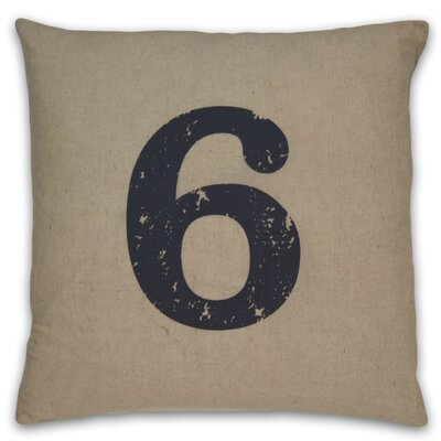 Numeral 6 Linen Throw Pillow