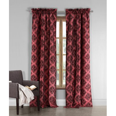 DR International Window Curtain Panels (Set of 2) - Color: Red and Black