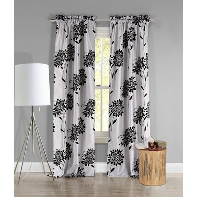 DR International Hippy Window Curtain Panel Pair - Color: Silver and Black
