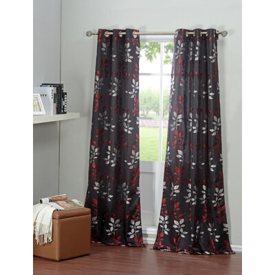 DR International Brighton Window Curtain Panels (Set of 2) - Color: Black and Red
