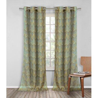 DR International French Riviera Linen Look Grommet Curtain Panels (Set of 2) - Color: Aqua Blue
