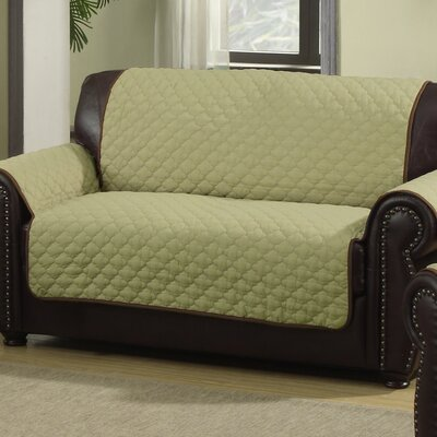 Rachel Box Cushion Loveseat Slipcover Upholstery: Sage/Chocolate