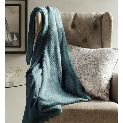 Myrcella Textured Fleece Throw Blanket Color: Slate Blue