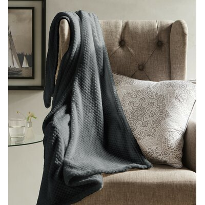 Myrcella Textured Fleece Throw Blanket Color: Smoke